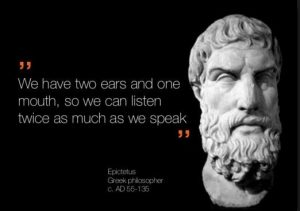 we have two ears and one mouth